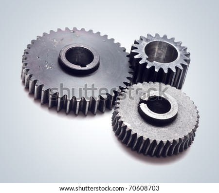Assorted metal gears - stock photo