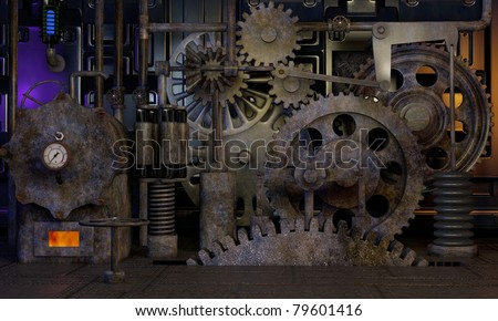assorted metal gears with tarnished patina finish - stock photo