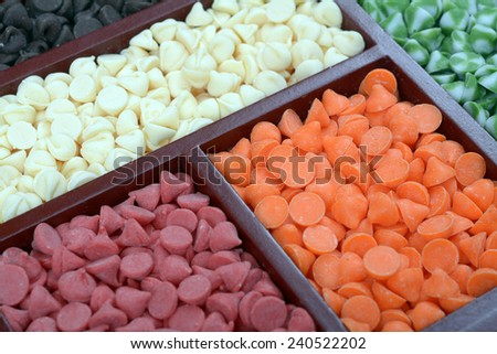 Assorted mix flavored nipple chips in box  - stock photo