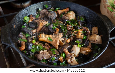 assorted mushrooms is fried in a pan,  food close up - stock photo