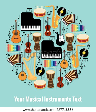 Assorted Musical Instruments Design Formed Round with Editable Text Area. Isolated on Light Blue Sky Background. - stock photo