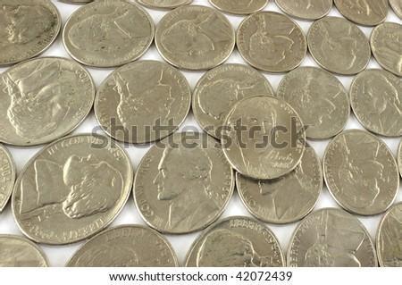 Assorted nickels - stock photo