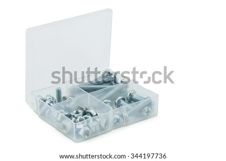 Assorted nuts and bolts on white background, clipping part
