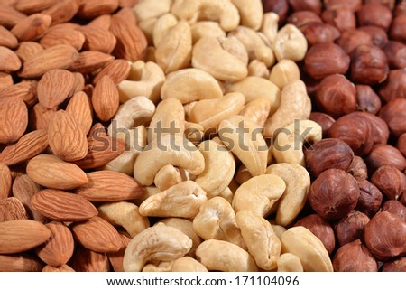 Assorted nuts as background - stock photo