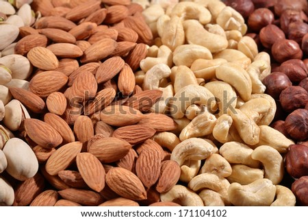 Assorted nuts as background