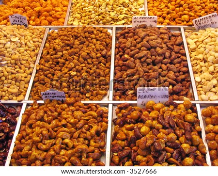 Assorted nuts at the market stall