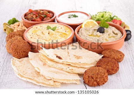 assorted of oriental food, mezze - stock photo