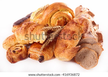 assorted pastry and bread - stock photo