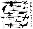 assorted plane, helicopter and microlight silhouettes illustration JPEG - stock vector