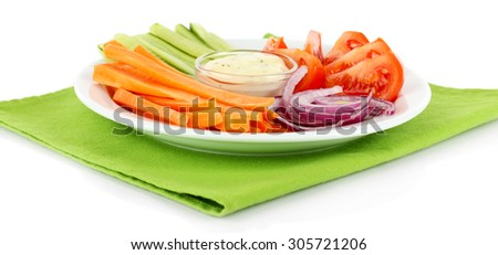 Assorted raw vegetables sticks in plate isolated on white - stock photo