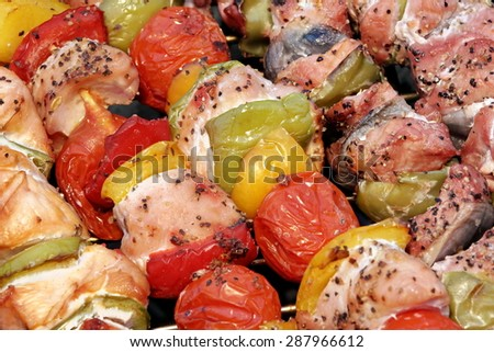Assorted Roasted Meat with Vegetable On The Hot Barbecue Charcoal Grill - stock photo