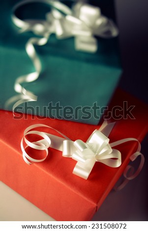 Assorted shots of red and green gifts to use in holiday concepts.
