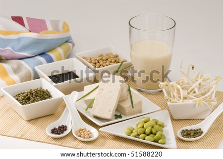 Assorted soy products on white background. - stock photo