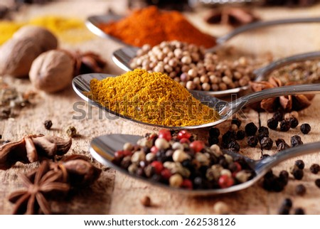 Assorted spices in metal spoon - stock photo