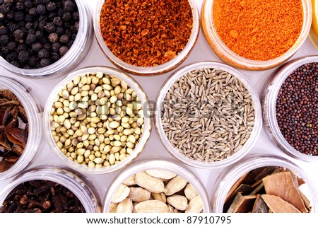 Assorted spices in white bowls - stock photo