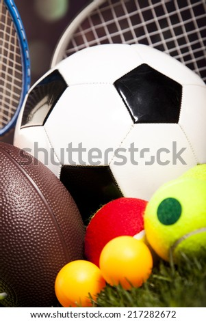 Assorted sports equipment - stock photo