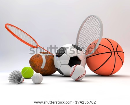 Assorted sports equipment including a basketball, soccer ball, tennis ball, baseball, tennis racket, football, birdie, badminton racket on a white background  - stock photo