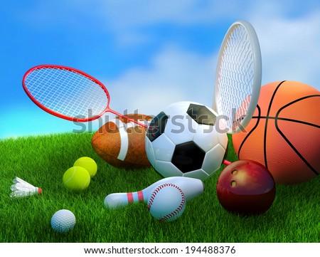 Assorted sports equipment including a basketball, soccer ball, tennis ball, baseball, tennis racket, football, birdie, badminton racket on green grass field with blue sky. - stock photo