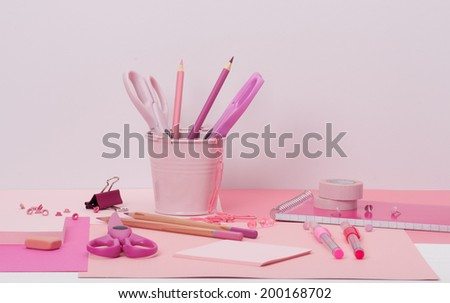 Assorted Stationery Items On A Desk - stock photo