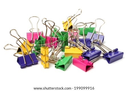 Assorted stationery on white background  - stock photo