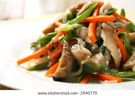 assorted stir fried vegetables with shiitake mushroom and pork