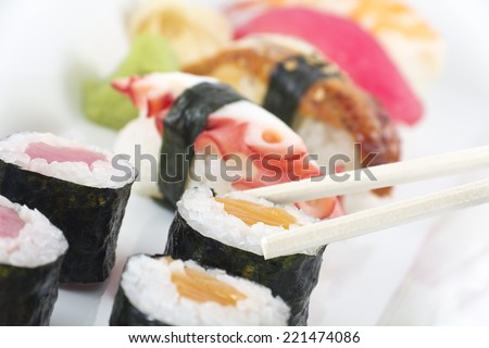 Assorted sushi platter including, octopus, eel, tuna, shrimp, and salmon - stock photo