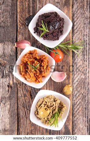 assorted tapenade - stock photo