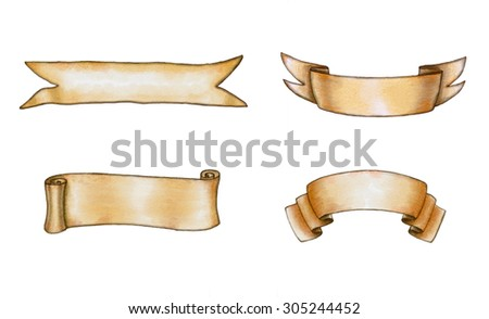 Assorted watercolor banners. Digital illustration. - stock photo