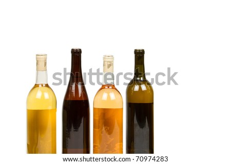 Assorted Wine Bottles Isolated on a White Background