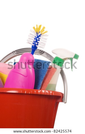 Assortment means for cleaning isolated over white - stock photo