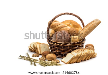 assortment of baked bread  in basket on white background - stock photo