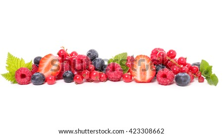 assortment of berries isolated on white - stock photo