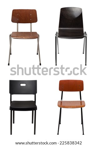 Assortment of chairs isolated - stock photo