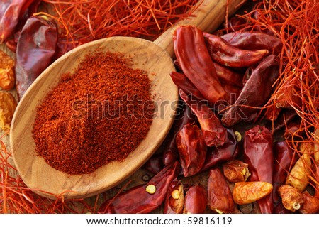 Assortment of chili, close up - stock photo
