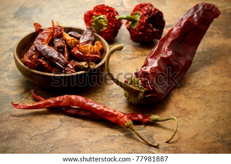 Assortment of chili peppers - stock photo