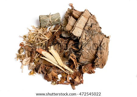 Assortment of Chinese Herbs on White Background