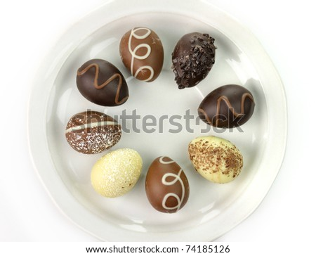 assortment of chocolate eggs on a plate - stock photo