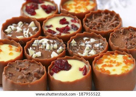 Assortment of chocolate pralines