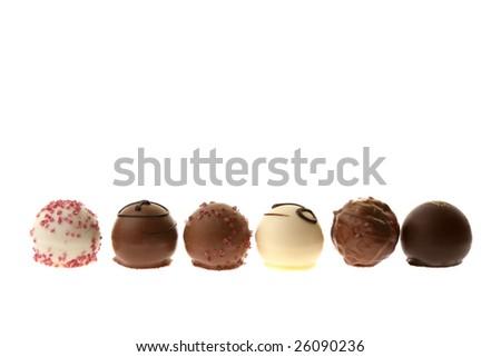 Assortment of chocolate pralines. - stock photo