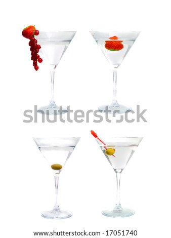 Assortment of cocktails from martini. Isolation - stock photo
