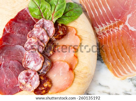 Assortment of cold meats from spain  - stock photo