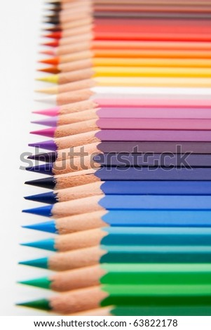 Assortment of colored pencils with small depth of field. - stock photo