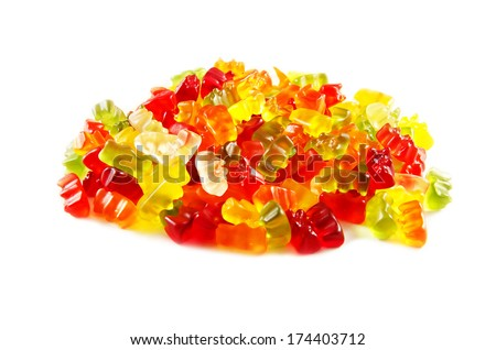 Assortment of colorful fruity Gummy Bears isolated on white background. - stock photo