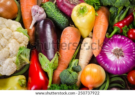 Assortment of colorful vegetables, food background - stock photo