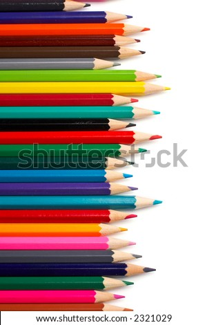 Assortment of coloured pencils with shadow on white background - stock photo