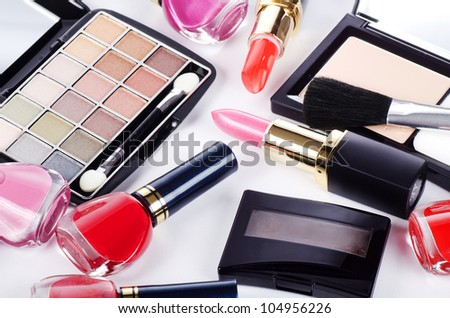 Assortment of cosmetic means for decorative make-up - stock photo