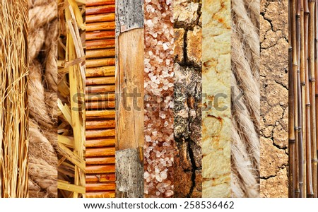 Assortment of different textures in collage, mix of textures as background - stock photo
