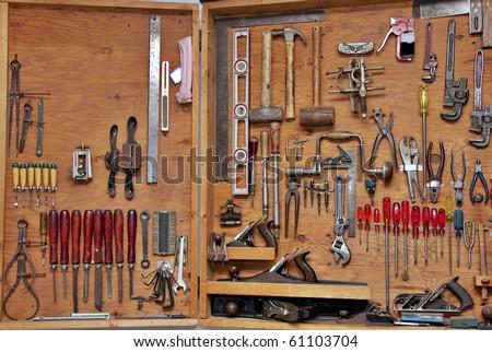 assortment diy do yourself tools hanging stock photo