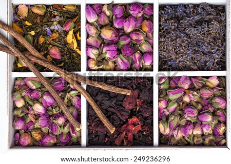 Assortment of dry herbal tea in wooden box. - stock photo