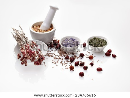 Assortment of dry medicinal herbs in porcelain bowl and mortar with pestle (cornflower, melissa, antennaria, sapindus, rosehip and flax seeds) - stock photo